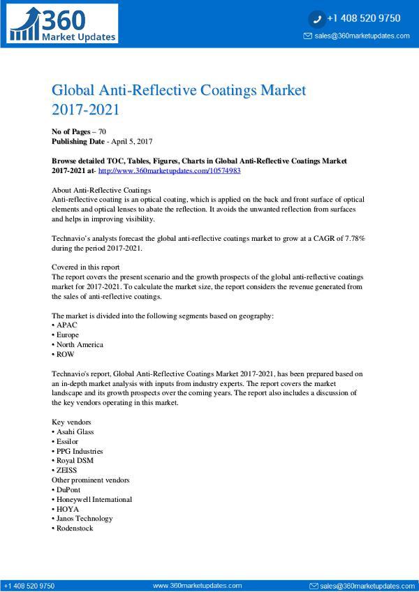 Anti-Reflective Coatings Market 2017-2021