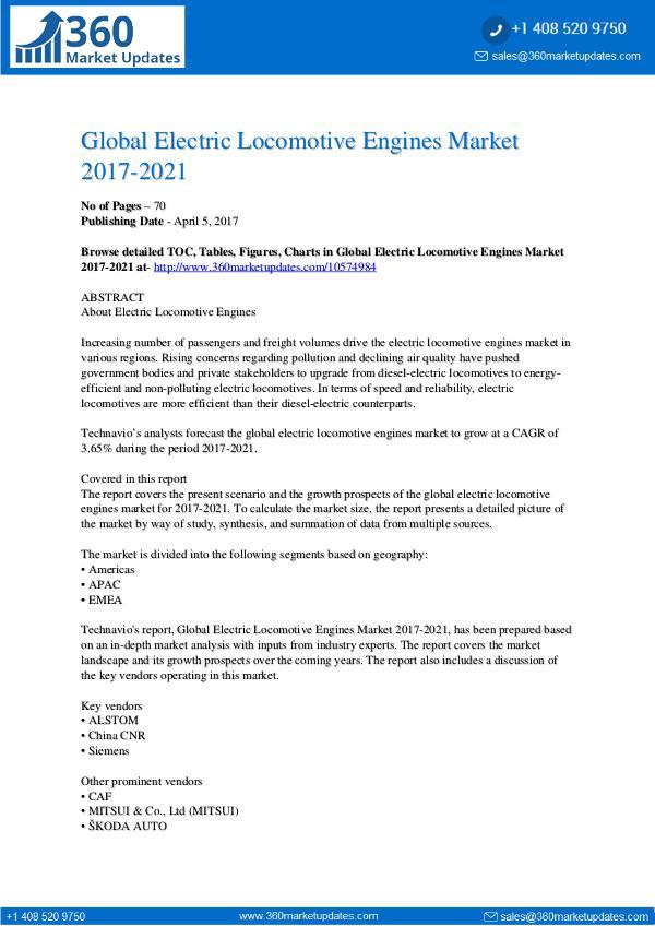 Electric Locomotive Engines Market 2017-2021