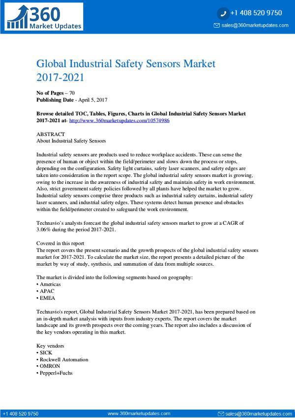Industrial Safety Sensors Market 2017-2021