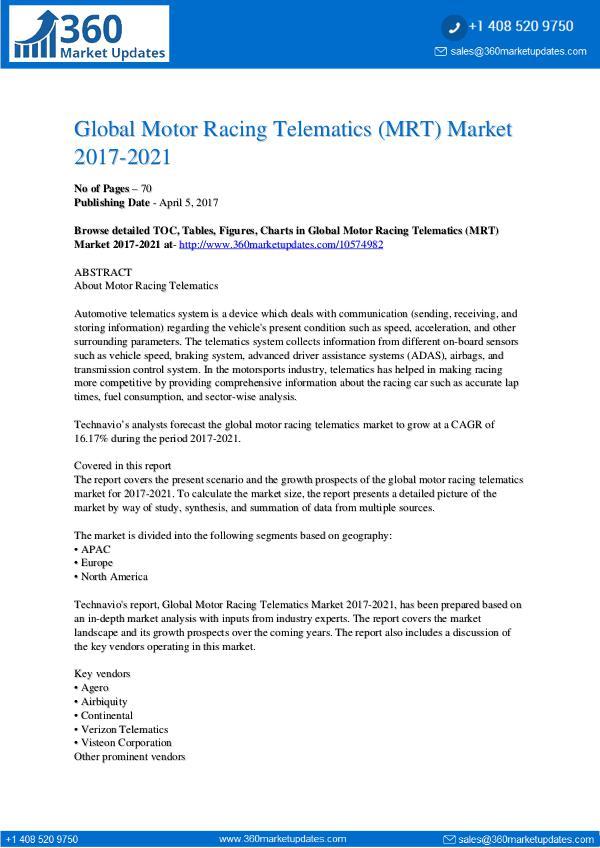 Report- Motor Racing Telematics (MRT) Market 2017-2021