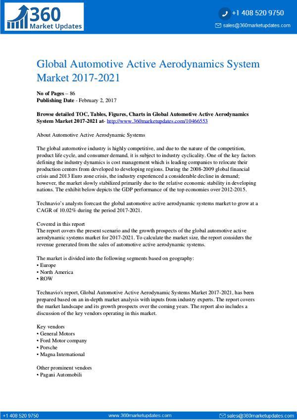 Automotive Active Aerodynamics System Market 2017