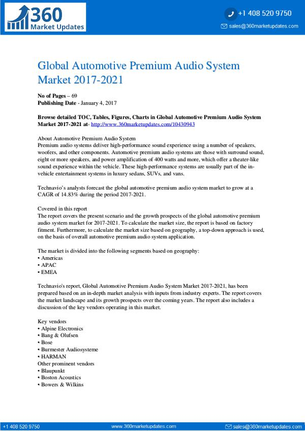 Automotive Premium Audio System Market 2017-2021