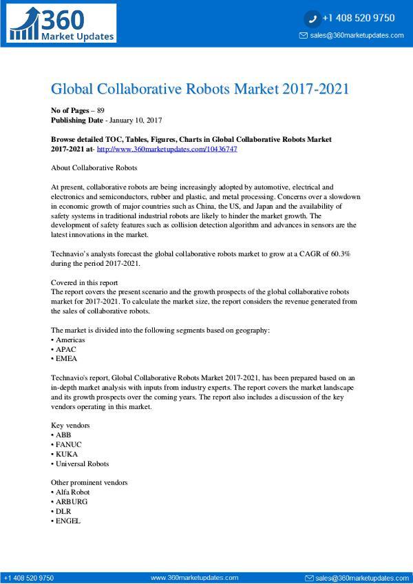 Collaborative Robots Market 2017-2021
