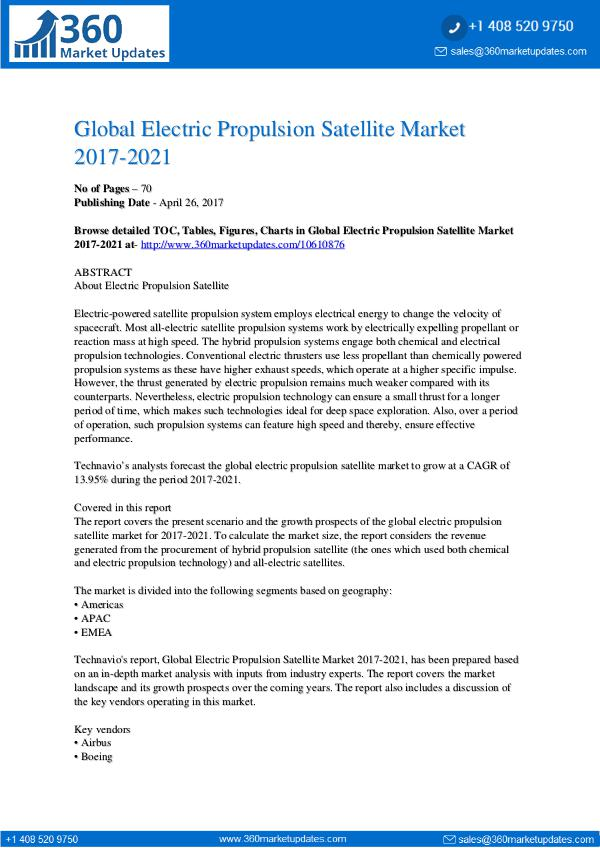 Electric Propulsion Satellite Market 2017-2021
