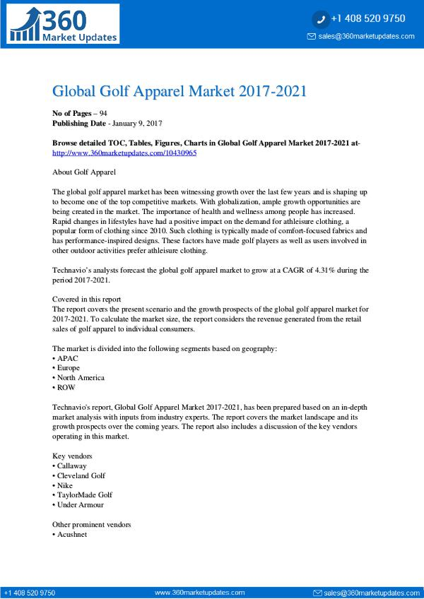 Global Golf Apparel Market 2017-2021
