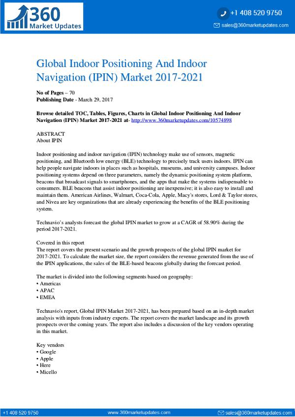 Report- Indoor Positioning And Indoor Navigation Market