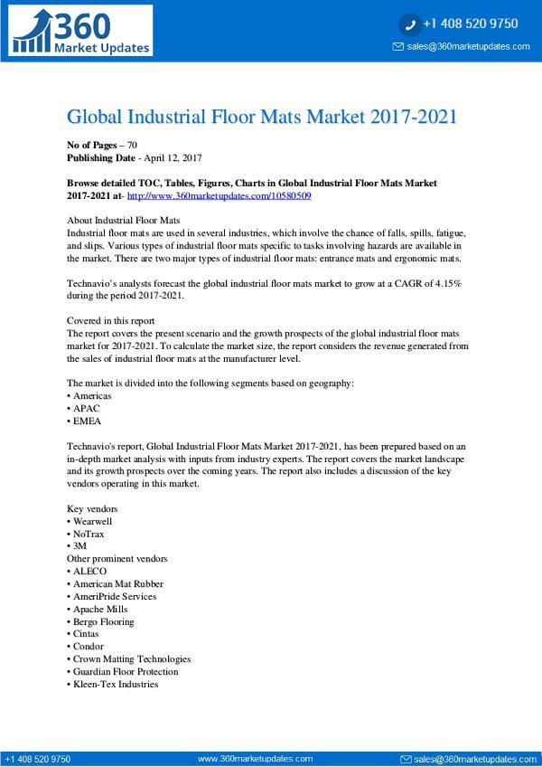 Report- Industrial Floor Mats Market 2017-2021