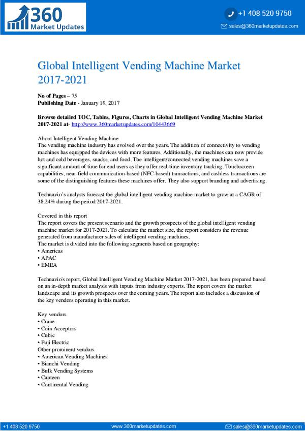 Intelligent Vending Machine Market 2017-2021