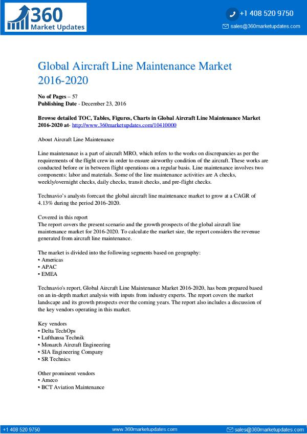 Global Aircraft Line Maintenance Market 2016-2020