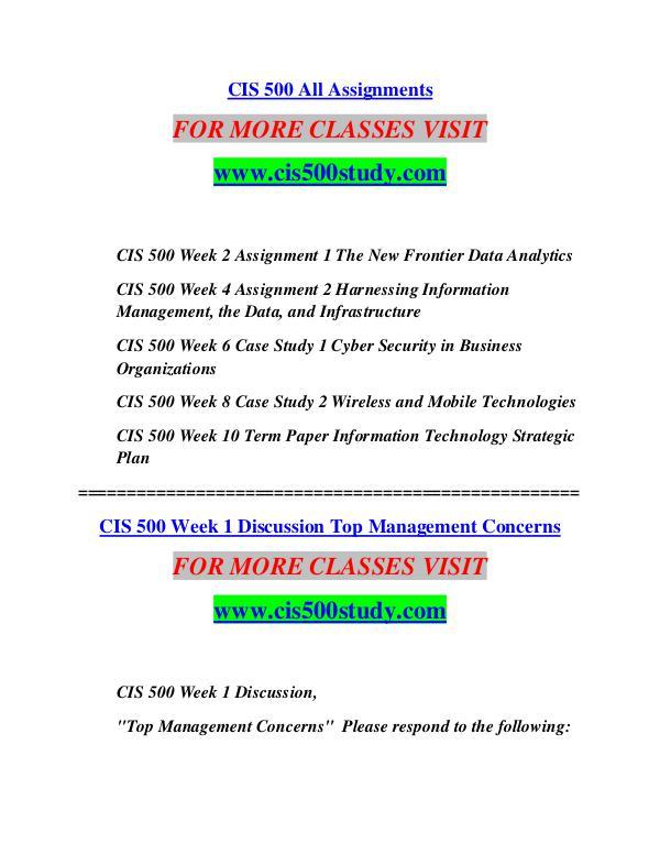 CIS 500 STUDY Learn Do Live cis500study.com CIS 500 STUDY Learn Do Live cis500study.com