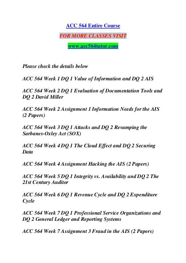 ACC 564 TUTOR Great Stories /acc564tutor.com ACC 564 TUTOR Great Stories /acc564tutor.com