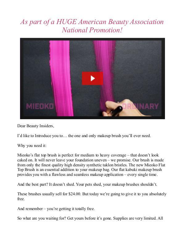 Free Mieoko Makeup Brush Set / Review American Beauty Association Free Brush Set