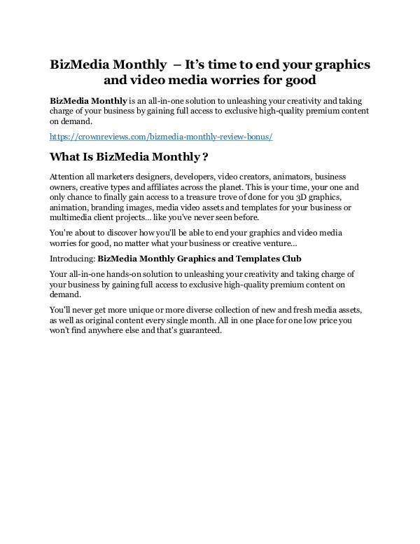 BizMedia Monthly Review & (Secret) $22,300 bonus NOW BizMedia Monthly Review