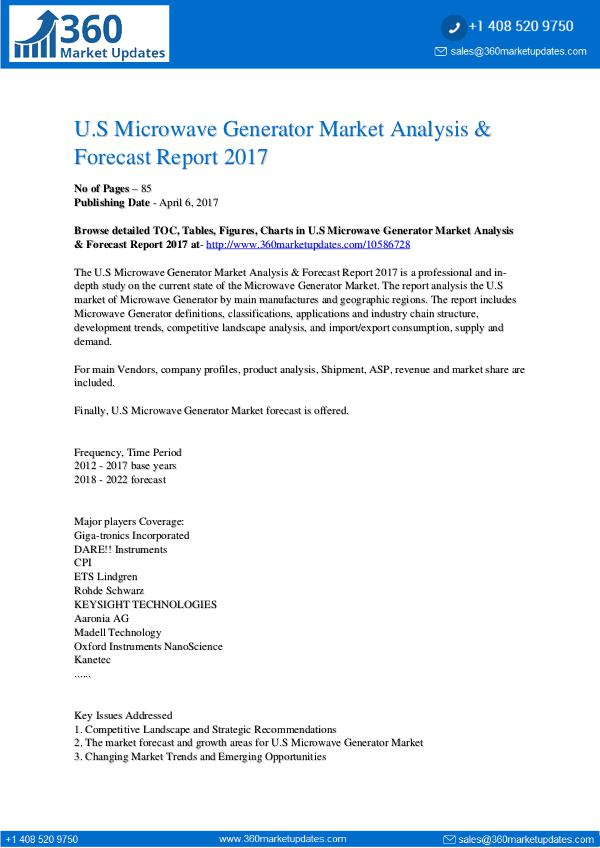 Market Research Reports Microwave Generator Market