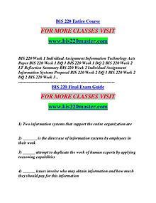 BIS 220 MASTER Think Big /bis220master.com