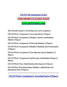 CIS 515 STUDY Learn Do Live /cis515study.com