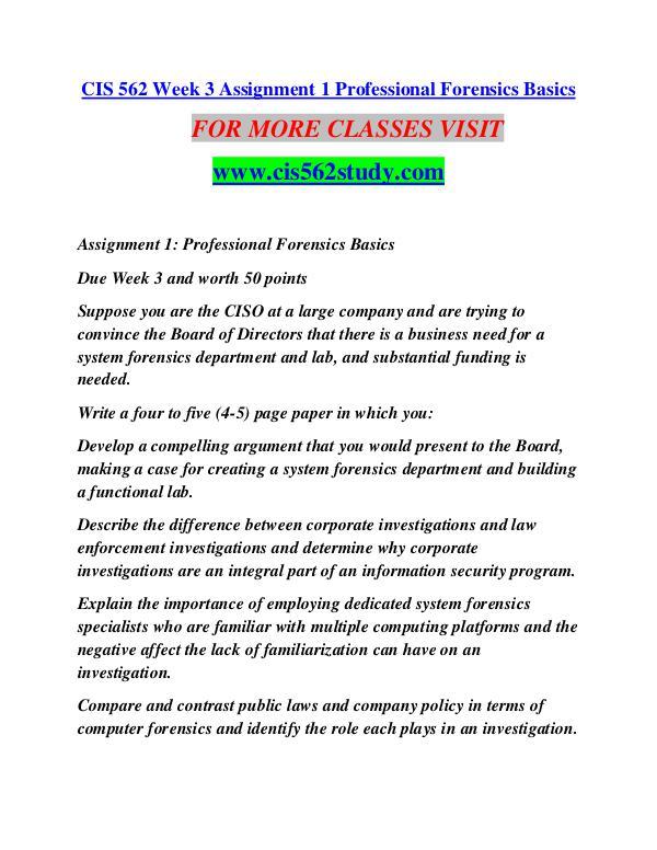 CIS 562 STUDY Learn Do Live /cis562study.com CIS 562 STUDY Learn Do Live /cis562study.com