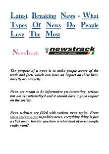 Latest Breaking News-What Types Of News Do People Love The Most