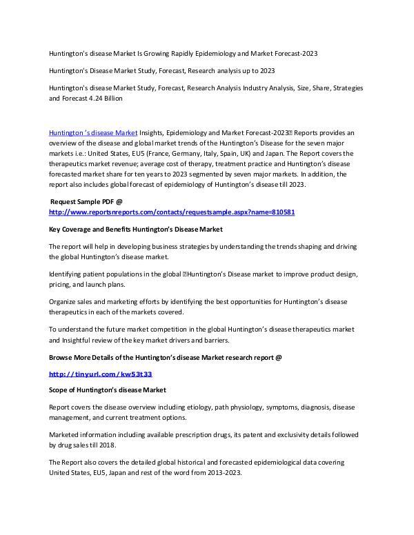 Huntington S Disease Market Study Forecast Research Analysis Huntington S Disease Market Joomag Newsstand