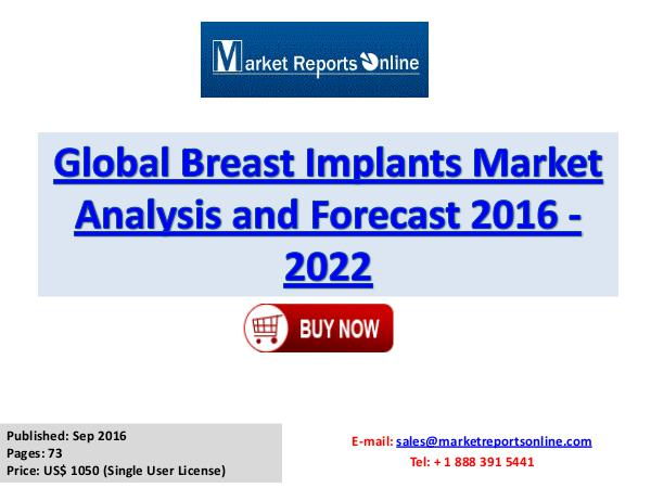 Breast Implants Market Research Report and Trends Forecasts to 2022 Breast Implants Market Global Analysis