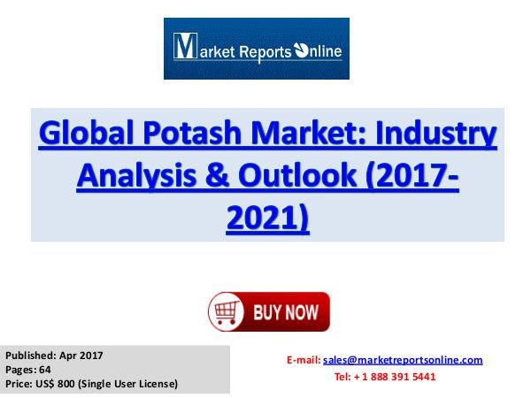 Potash Industry Research Report and Trends Forecasts 2017 to 2021 Potash Industry: 2017 Global Market Size, Share
