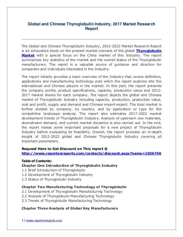 Thyroglobulin Market Growth Analysis and Forecasts To 2022 Thyroglobulin Market: 2017 Global Industry Trend