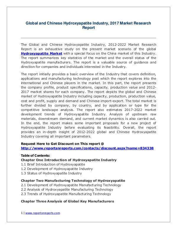Hydroxyapatite Market Growth Analysis and Forecasts To 2022 Hydroxyapatite Market: 2017 Global Industry Trends