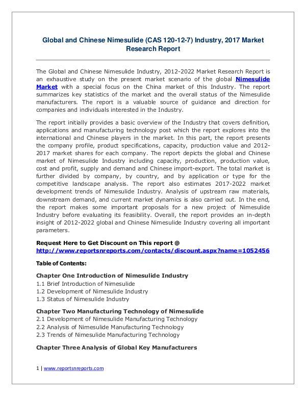 Nimesulide Market Growth Analysis and Forecasts To 2022 Nimesulide Industry 2017 Market Trends Growth 2022