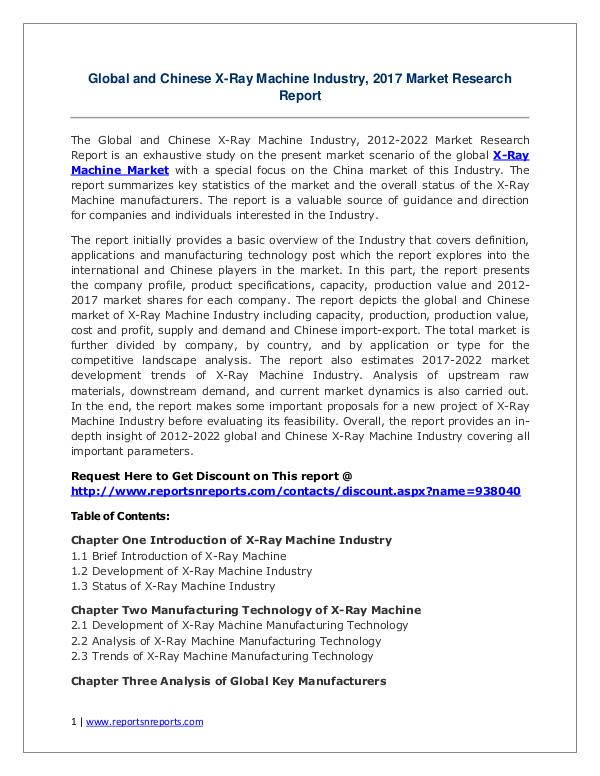 X-Ray Machine Market Growth Analysis and Forecasts To 2022 X-Ray Machine Industry 2017 Market Size, Share