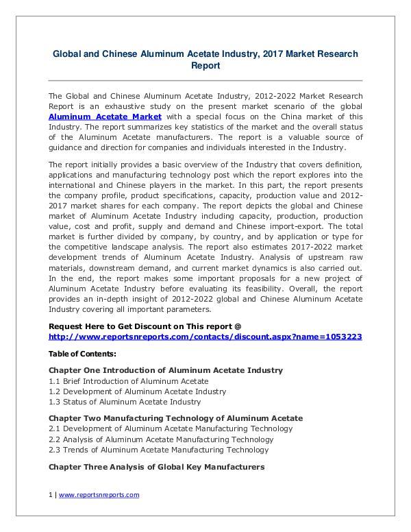 Aluminum Acetate Market Growth Analysis and Forecasts To 2022 Aluminum Acetate Market: 2017 Global Industry 2022