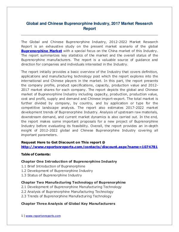 Buprenorphine Market Growth Analysis and Forecasts To 2022 Buprenorphine Market: 2017 Global Industry Trends