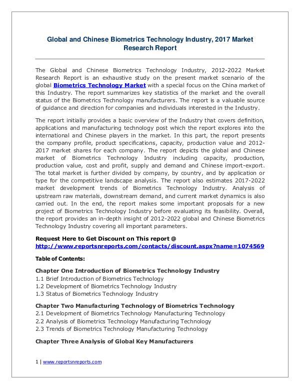 Biometrics Technology Market Growth Analysis and Forecasts To 2022 Biometrics Technology Market: 2017 Global Industry