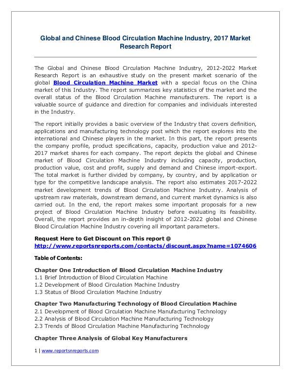 Blood Circulation Machine Market Growth Analysis and Forecasts To 202 Blood Circulation Machine Market: 2017 to 2022
