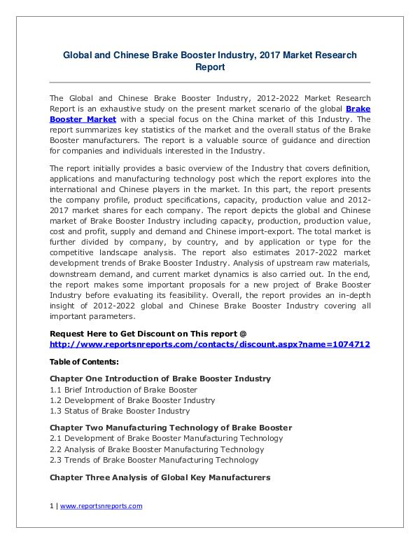 Brake Booster Market Growth Analysis and Forecasts To 2022 Brake Booster Market: 2017 Global Industry