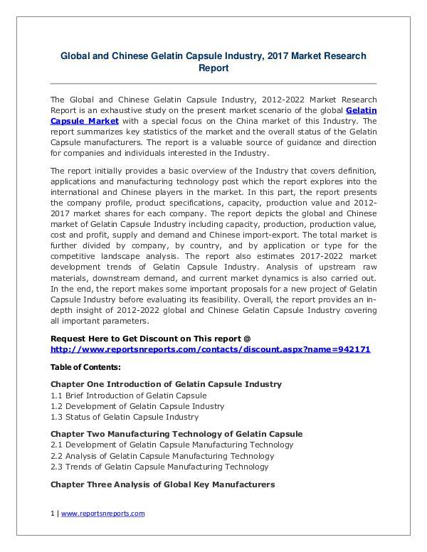 Gelatin Capsule Market Growth Analysis and Forecasts To 2022 Gelatin Capsule Industry 2017 Market Size, Share