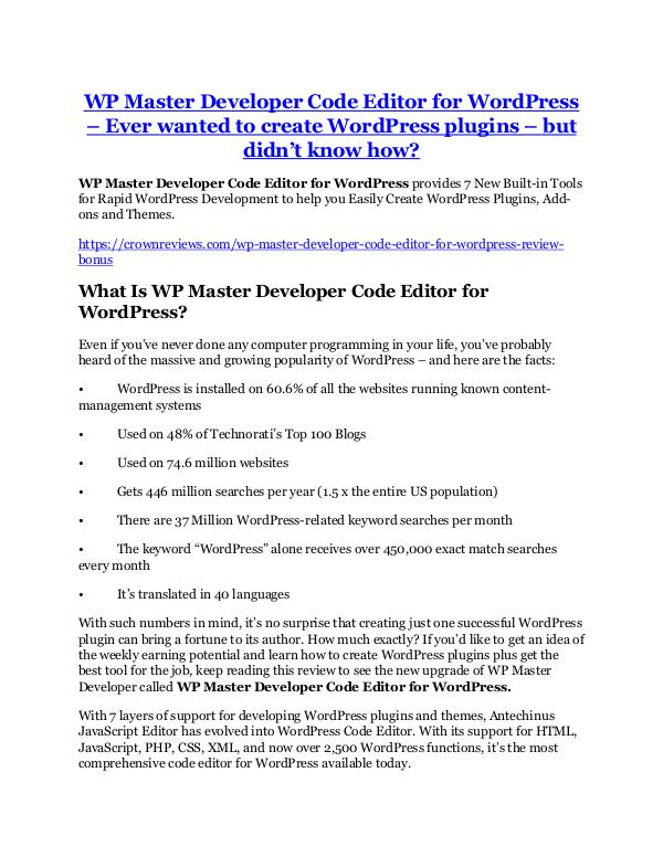 Marketing WP Master Developer Code Editor for WordPress Revi