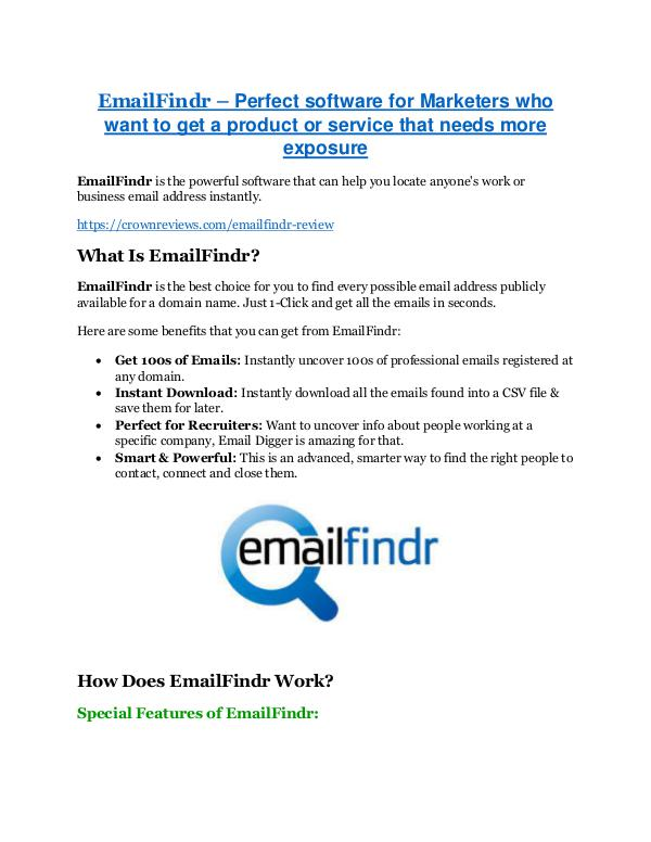 EmailFindr review - EXCLUSIVE bonus of EmailFindr