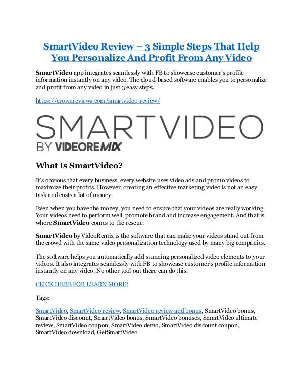 Marketing SmartVideo Review and GIANT $12700 Bonus-80% Disco
