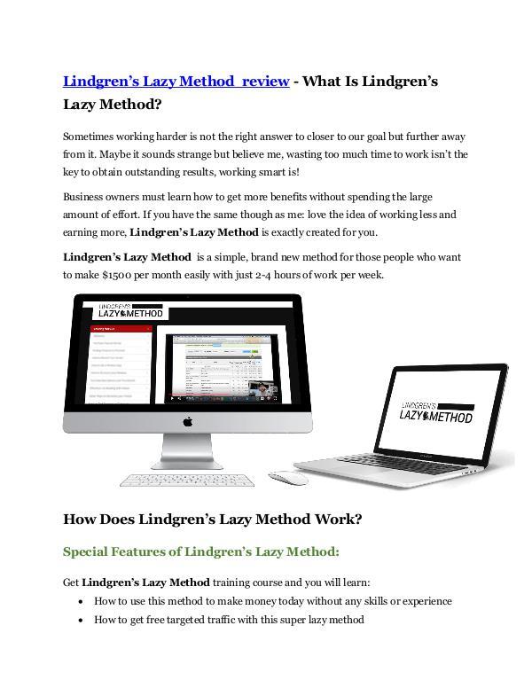 Marketing Lindgren's Lazy Method review and (MEGA) bonuses –