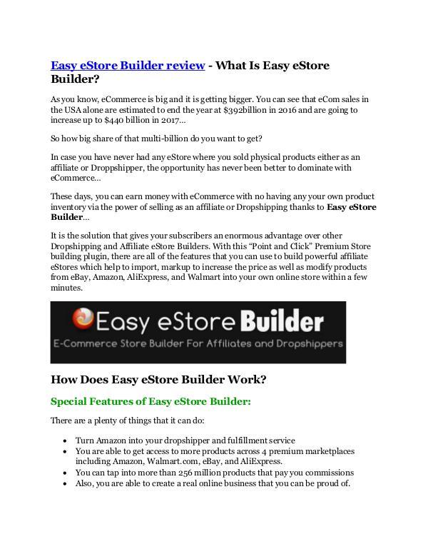 Easy eStore Builder review and (COOL) $32400 bonus