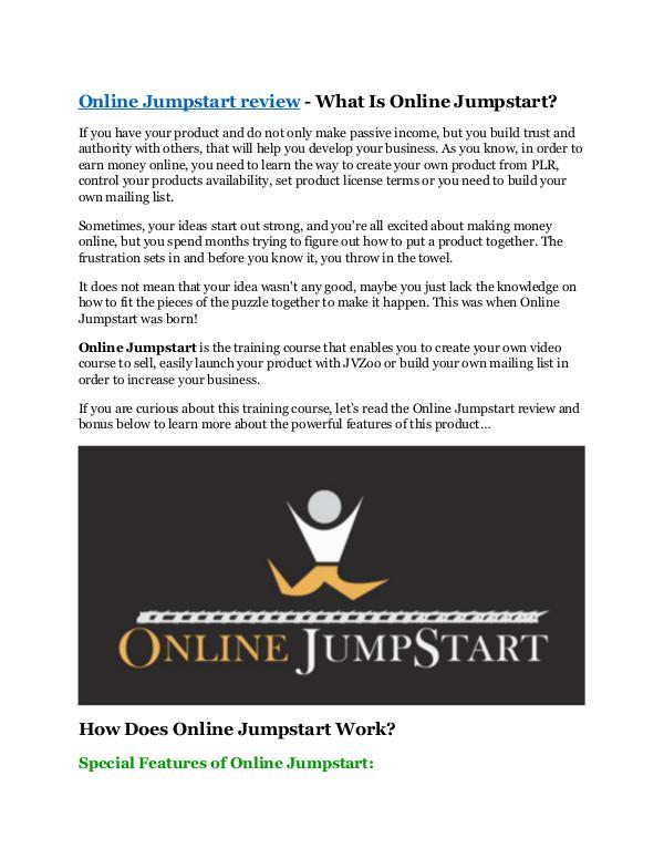 Online Jumpstart review & SECRETS bonus of Online