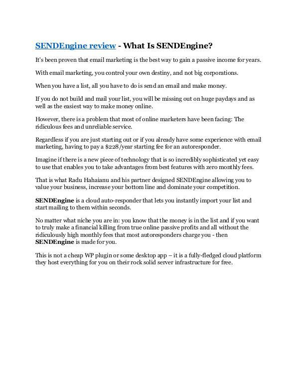 SENDEngine review - SENDEngine $27,300 bonus & dis