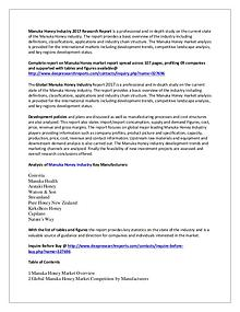 Manuka Honey Industry 2017 Market Research Report