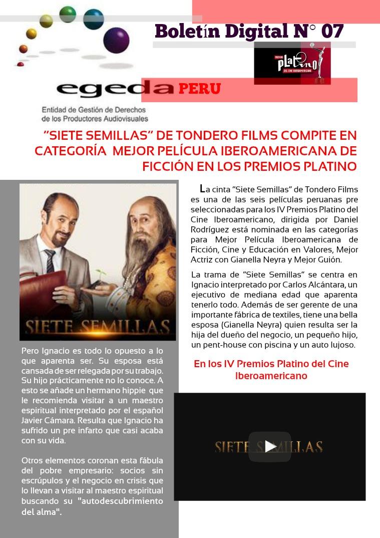 BOLETÍN DIGITAL EGEDA PERÚ N° 07