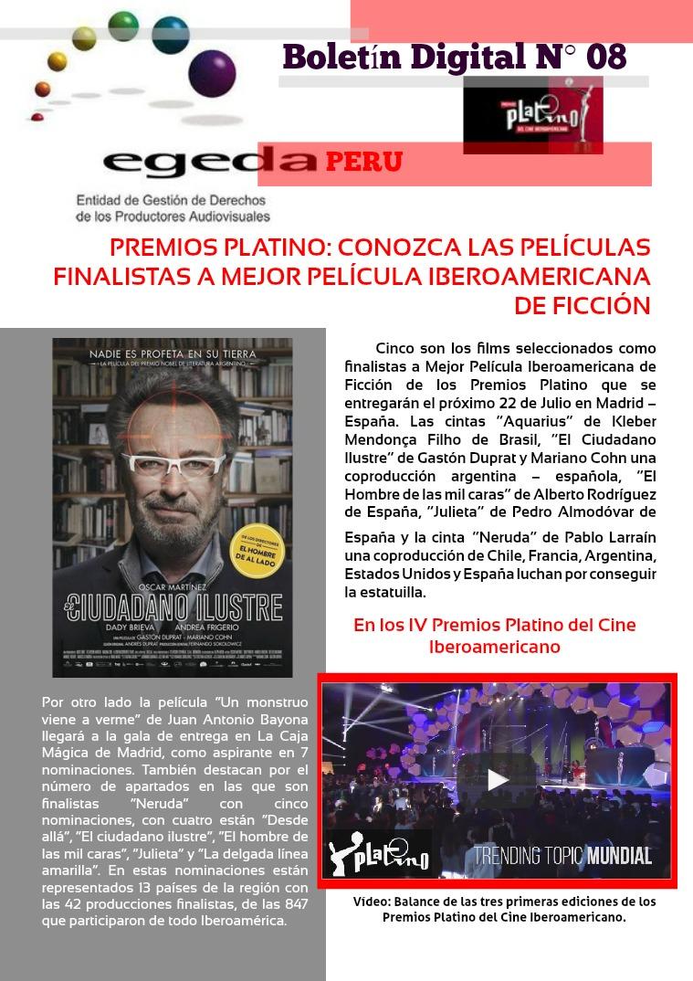 BOLETÍN DIGITAL EGEDA PERÚ N° 08