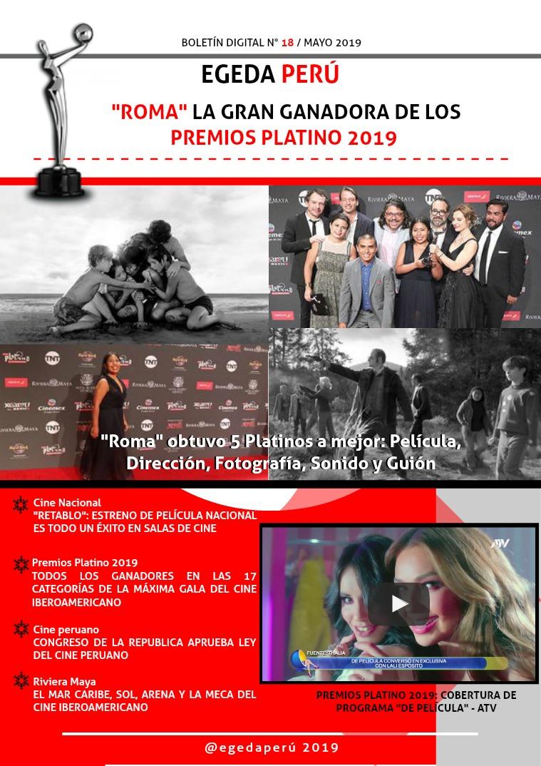 BOLETÍN DIGITAL EGEDA PERÚ N° 18 PREMIOS PLATINO 2019