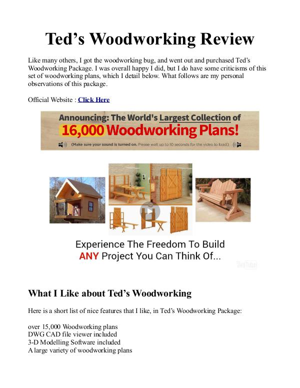 Teds Woodworking Pdf Plans Is 16000 Woodworking Plans Free