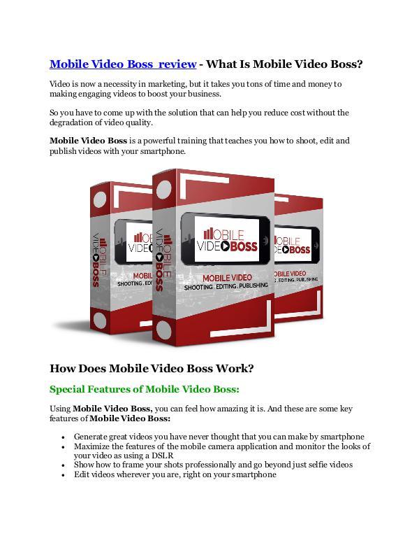 Mobile Video Boss review and (SECRET) $13600 bonus