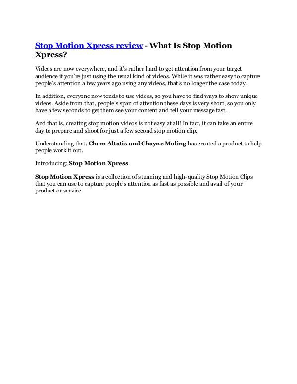 Stop Motion Xpress review-$26,800 bonus & discount