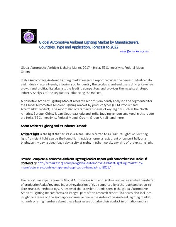 Global Automotive Ambient Lighting Market Research Report 2017 Automotive Ambient Lighting Market Global Share Tr